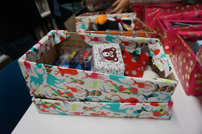 Shoebox fundraiser before Christmas